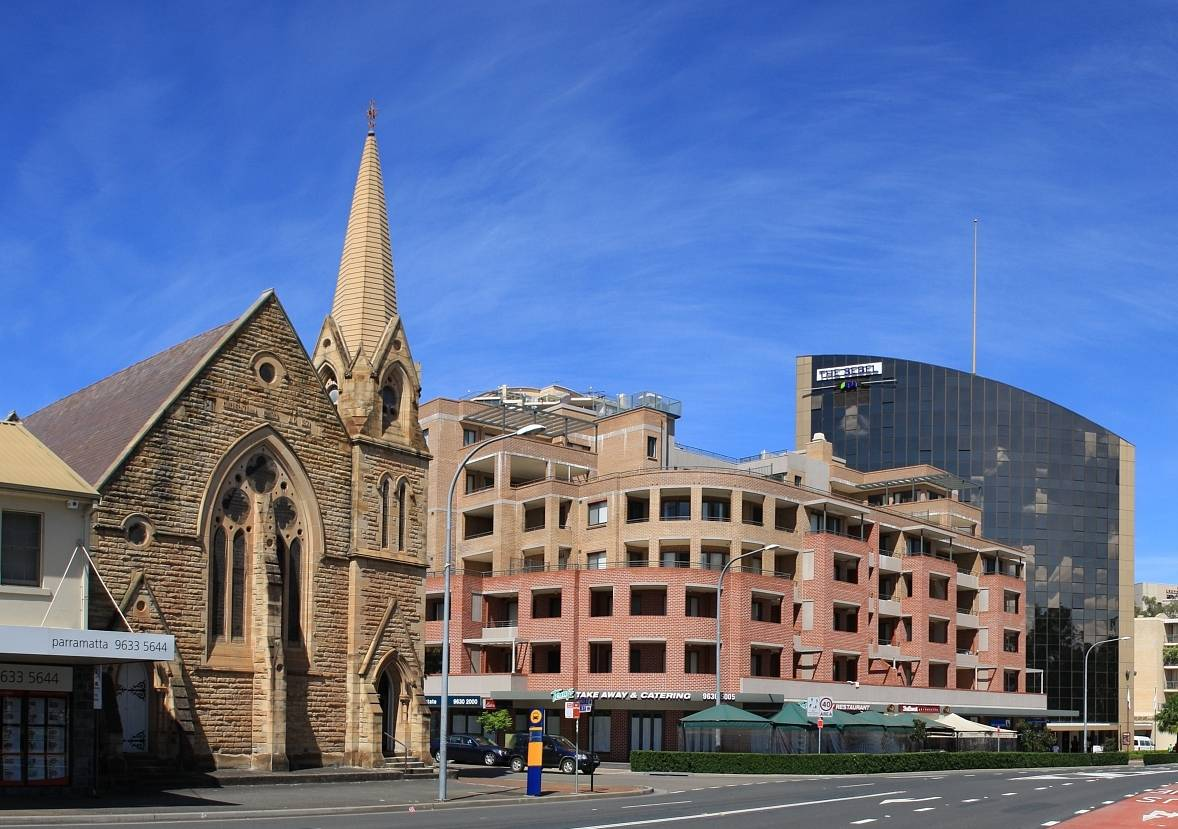 Church Street, Parramatta, New South Wales, with Congregational Church on left