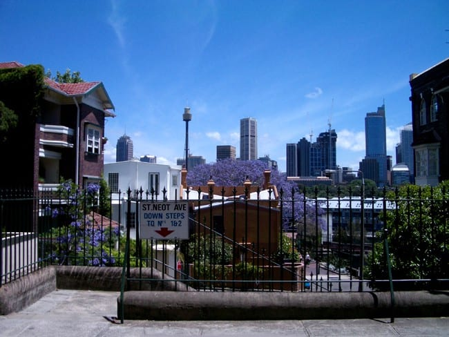 The view across Potts Point and Woolloomooloo to Sydney's Central Business District, from St Neot Avenue.